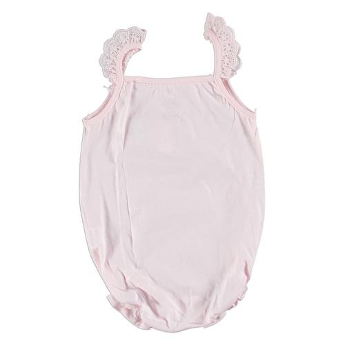Kız Bebek Kiraz Fırfır Askılı Kısa Tulum