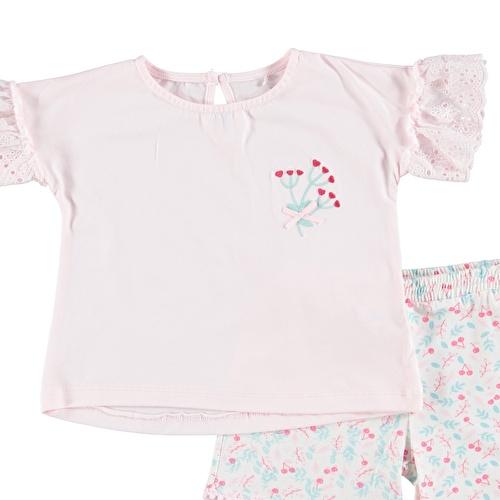 Kız Bebek Kiraz 2'Li Fistolu Tshirt Şort Takım