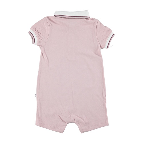 Baby Girl Polo Neck Fabric Short Romper