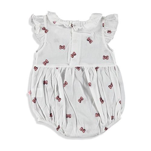 Bow Printed Baby Girl Short Romper