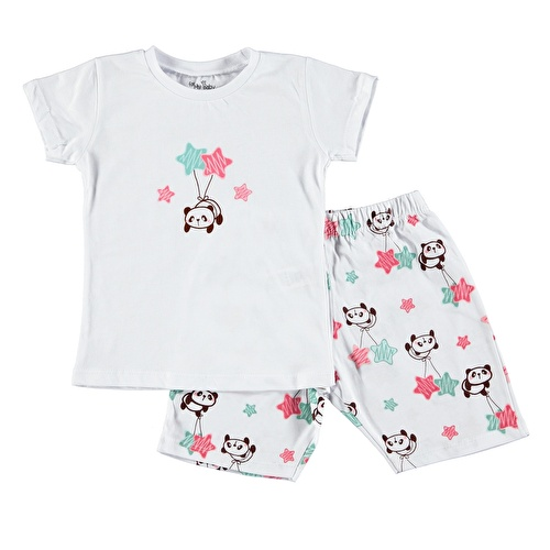 Panda Printed Short Sleeve Baby Girl Pyjamas