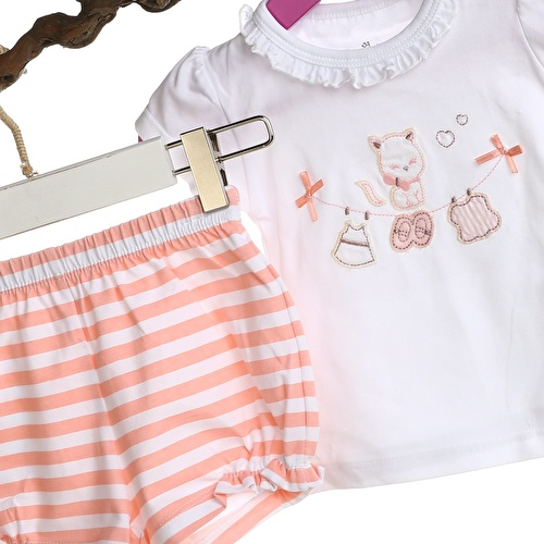 Baby Girl Pink Ruffled Short Sleeve Shirt Short Set