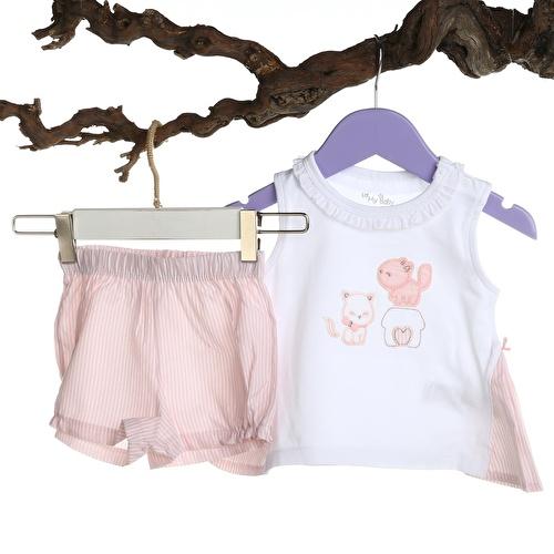 Baby Girl Pink Ruffled Shirt Short Set