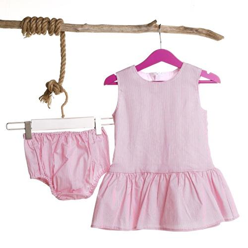 Kız Bebek Dantel Detaylı Kolsuz Elbise