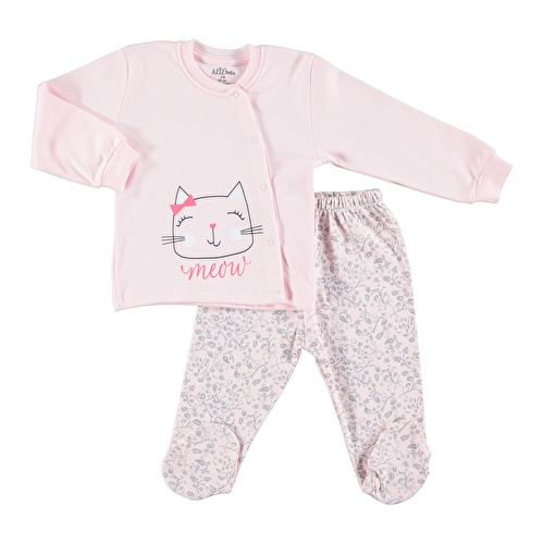 Smiling Cat Baby Snaps Cardigan Footed Pants 2 pcs