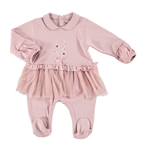 Tulle Detail Embroidered Baby Footed Romper