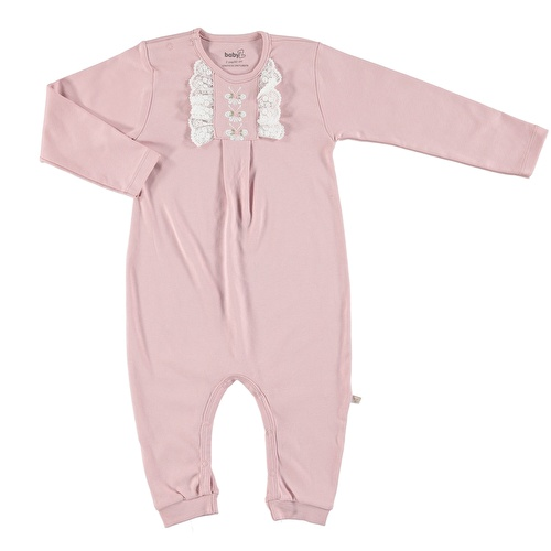 Baby Lacy Detail Butterfly Embroidered Footless Romper