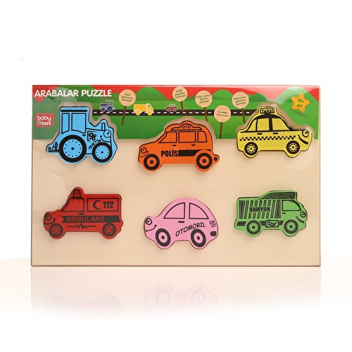 Wooden Cars Puzzle Toy 6 Pieces