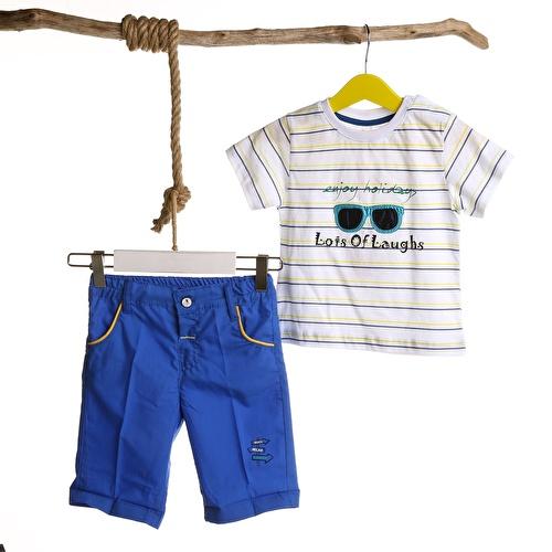 Baby Boy Crew Neck Tshirt Texture Short Set