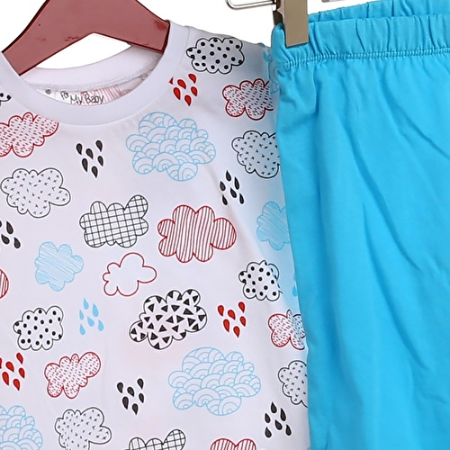 Baby Boy Cloud Feature Printed Short SleevePyjamas