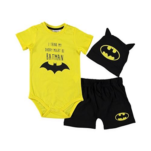 Erkek Bebek Batman Lisanslı Body Şapka Şort Takım