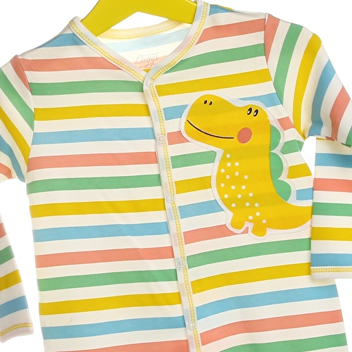 Baby Boy Dino Snaps Long Sleeve Footed Romper