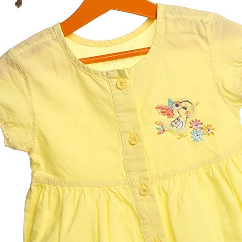 Kız Bebek Önden Düğmeli Dokuma Elbise