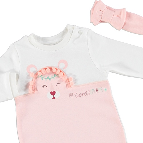 Kız Bebek Sevimli Pompomlar Tulum Body Bandana 3'Lü Set