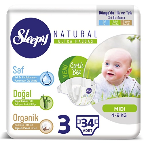Baby Diapers Size 3 Midi 4-9 kg 34 pcs
