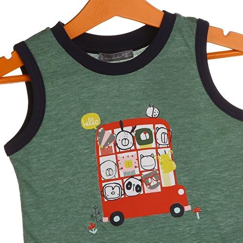 Bebek Otobüs Baskılı Çizgili Atlet
