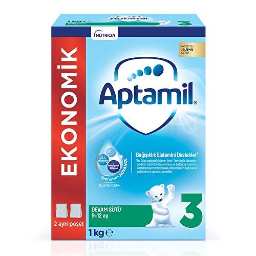 Yeni Aptamil 3 Ekonomik Paket Devam Sütü 1000 gr 9-12 Ay