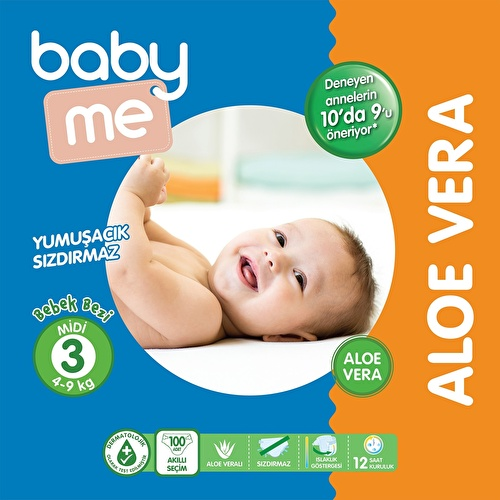 Aloe Vera Midi Number 3 Baby Diaper 4-9 kg 100 pcs