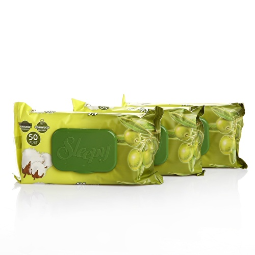 Wet Wipes Olive Oil and Cotton 3x50 pcs