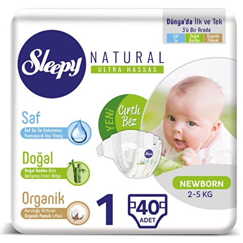 Natural Baby Diapers Size 1 Newborn 2-5 kg 40 pcs