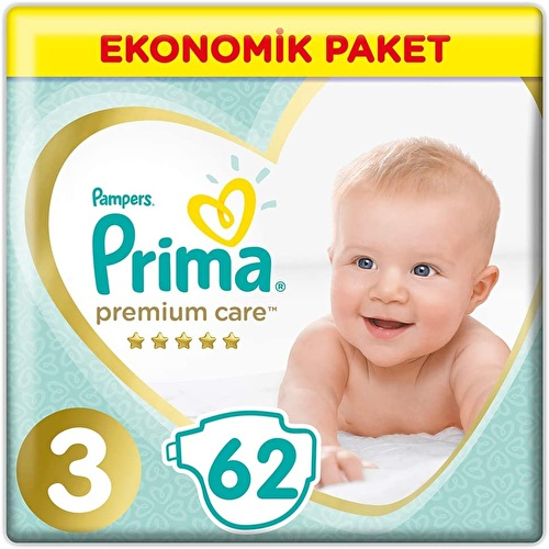 Premium Care Baby Diapers Size 3 Midi Economic Pack 6-10 kg 62 pcs