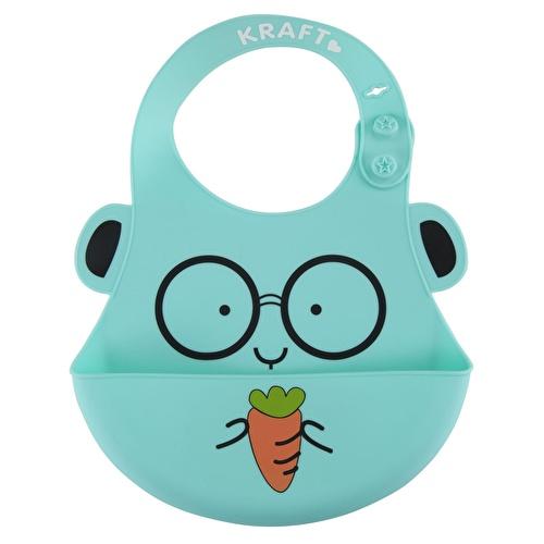 Desenli Önü Bölme Cepli Lüks Silikon Bebek Önlüğü Yeşil