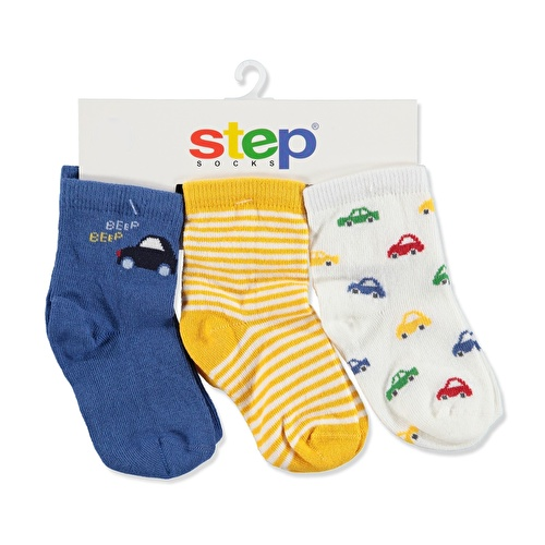 3 Pack Baby Socks Striped Car