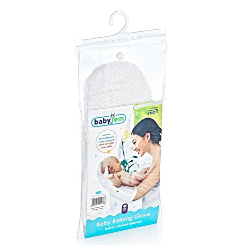 Baby Bath Glove - Soft Towel Fabric 1 pcs White