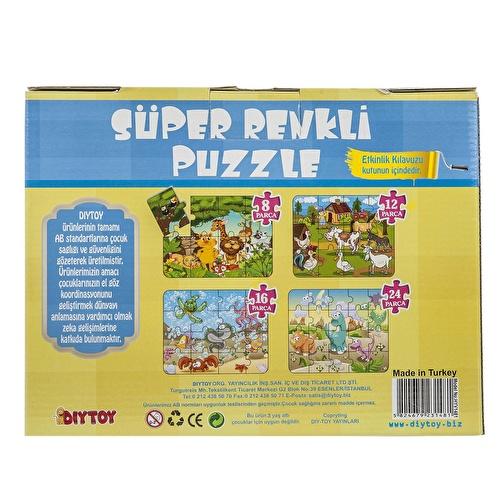 Hayvanlar Süper Renkli Puzzle 4ü 1 Kutuda