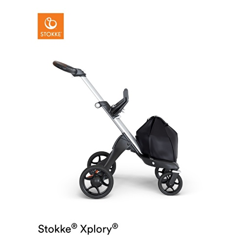 V6 Baby Stroller Gray Chassis Brown Leather Holding Sleeves