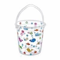 Transparent Patterned Plastic Bath Bucket 14 Litre