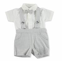 Summer Baby Boy Sailboat Short Sleeve Short Dungarees T-shirt 2 pcs Set