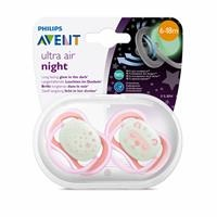 Ultra Air Glow in the Dark Pacifier 6-18 Months for Girls 2 pcs