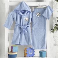 Baby Bathrobe Set - Blue