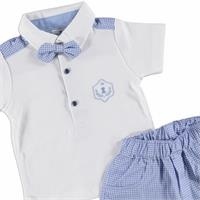 Baby Boy Bow Tie Polo Neck Tshirt Short Set