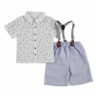 Summer Baby Boy Poplin Shirt Short 2 pcs Set