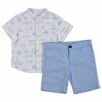 Gemi Baskılı Pamuklu Kısa Kol Hakim Yaka 2li Gömlek-Pantolon