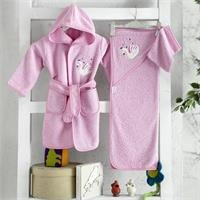 Baby Bathrobe Set - Pink