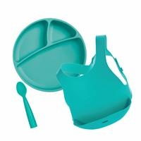 Baby Nutrition Set (Plate + Apron + 1 Spoon)