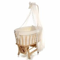 Natural Wood Mother Side Basket Cradle Cream + Bedding Set