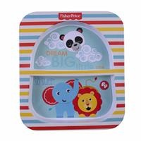 Striped Baby Food Plate with Compartment