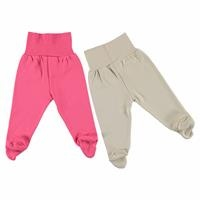 Winter Baby Girl Wide Foldable Casual Waist Footed Pants 2 Pack