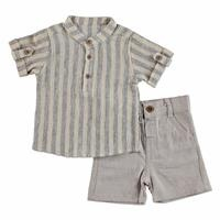 Summer Baby Boy Striped Shirt Short 2 pcs Set