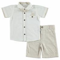 Yaz Erkek Bebek Gabardin Kısa Kol Reçme Polo Yaka 2li Gömlek- Şort