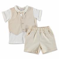 Yaz Erkek Bebek Yelekli Papyonlu Pamuklu Kısa Kol Patiksiz 2li Tshirt-Şort