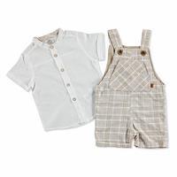 Bebek Ekose Küçük Salopet-Tshirt