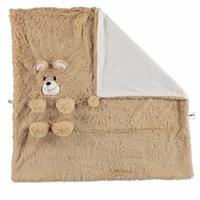 Bear 2D Plush Baby Blanket Beige 75x75 cm