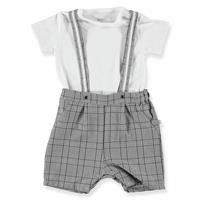 Baby Plaid Detailed Shorts Jumpsuit Polo Neck Tshirt Set