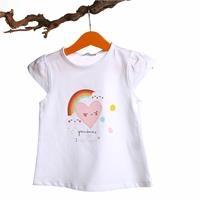 Crew Neck Baby Girl Supreme Rainbow Printed Tshirt