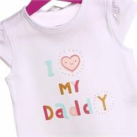 Crew Neck Baby Girl Supreme My Dady Printed Tshirt
